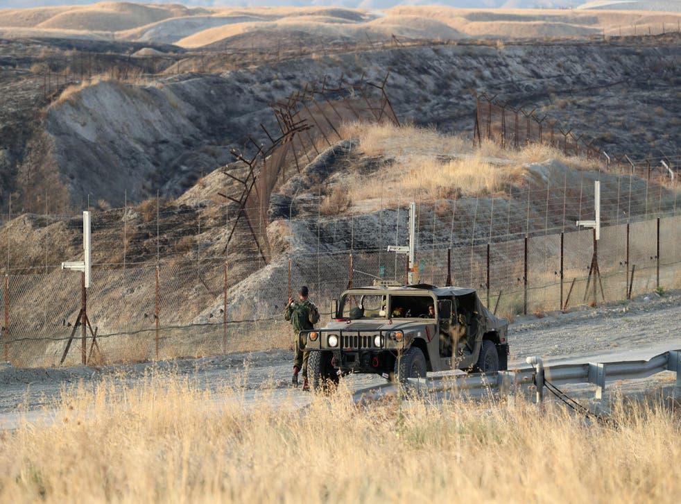 Israeli soldiers keep guard in Jordan Valley, the eastern-most part of the Israeli-occupied West Bank that borders Jordan