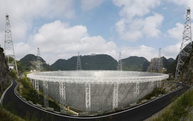This picture taken on September 24, 2016 shows the Five-hundred-metre Aperture Spherical Radio Telescope (FAST) in Pingtang, in southwestern China's Guizhou province