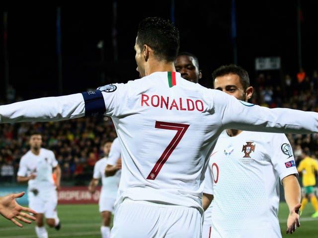 Portugal's forward Cristiano Ronaldo celebrates scoring