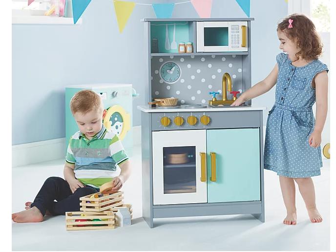 Play Kitchen Kids Wooden Toy Boys Girls Children Cooker RolePlay Pretend Utensil