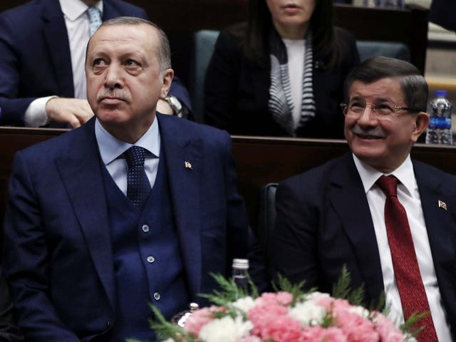 Turkey's President Recep Tayyip Erdogan, left, and former Prime Minister Ahmet Davutoglu, in January 2018