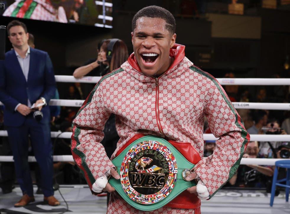Devin Haney poses with the WBC interim lightweight