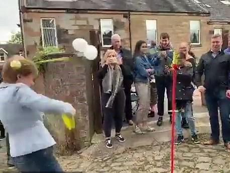 Nicola Sturgeon smashed in head by swingball