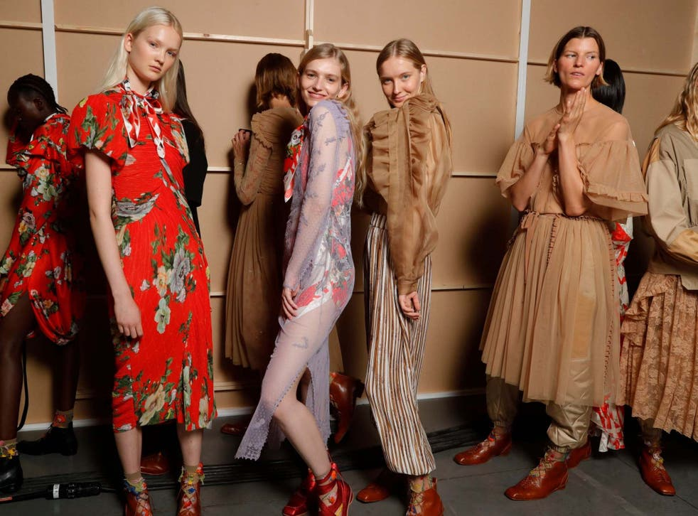 Models backstage at the Preen by Thorton Bregazzi show