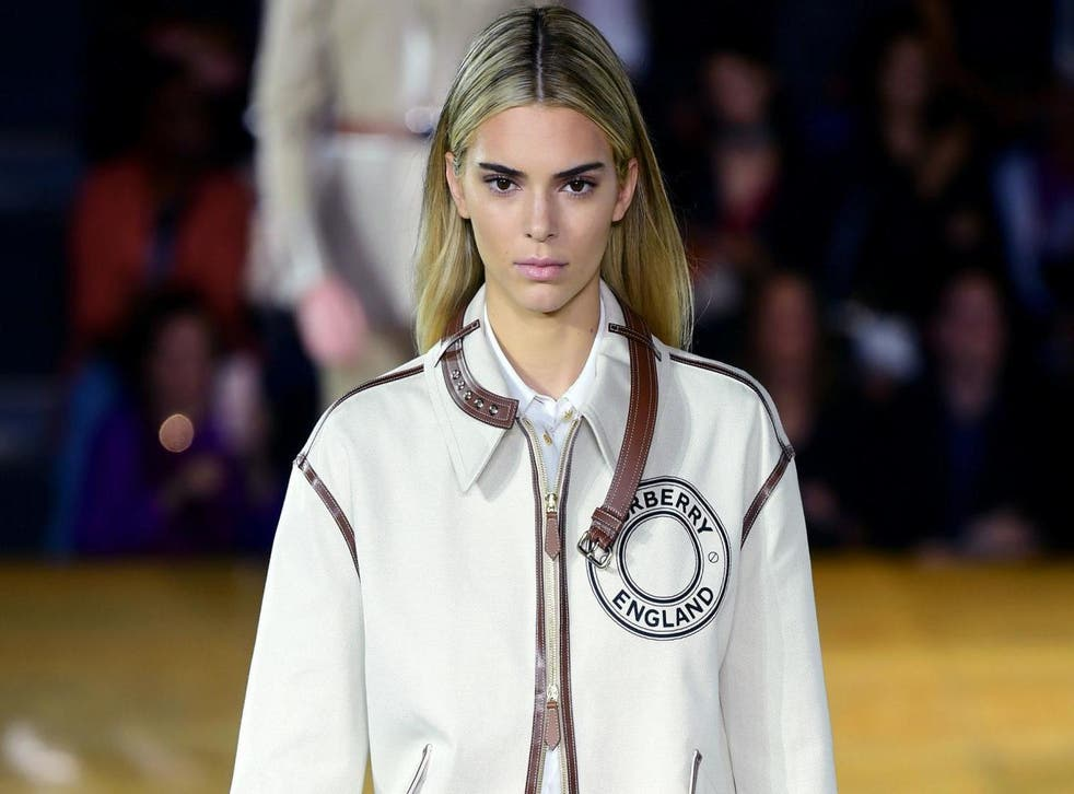 Kendall Jenner walks the runway for Burberry at LFW