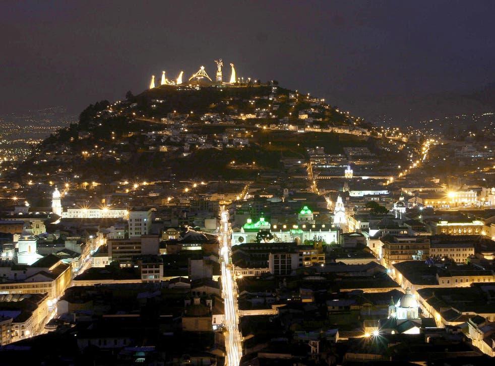 Quito, Ecuador's capital, at night