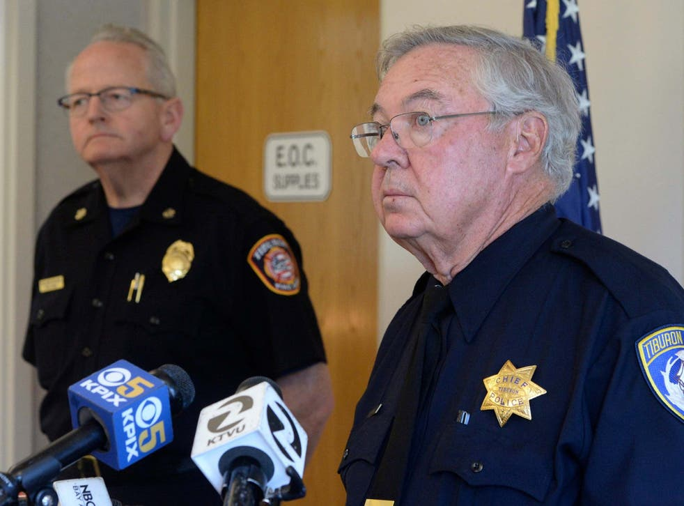 Tiburon, California, police chief Mike Cronin answers reporters' questions 16 September 2019 after man charged with manslaughter over death of 11-year-old son during boating incident in San Francisco Bay.