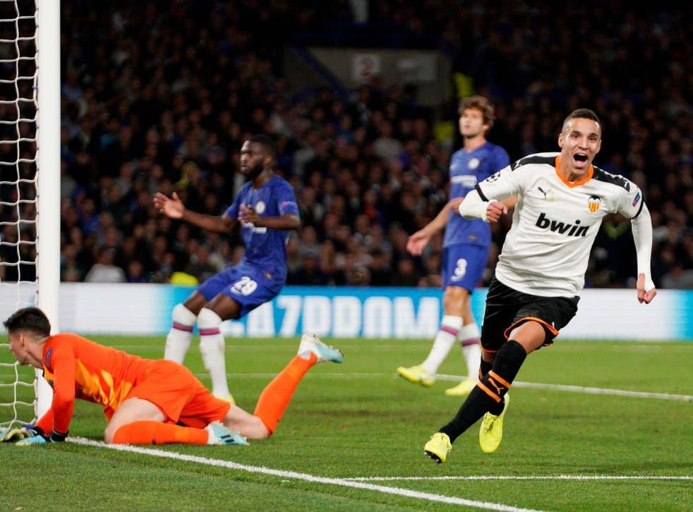 Rodrigo scores Valencia's winning goal at Stamford Bridge