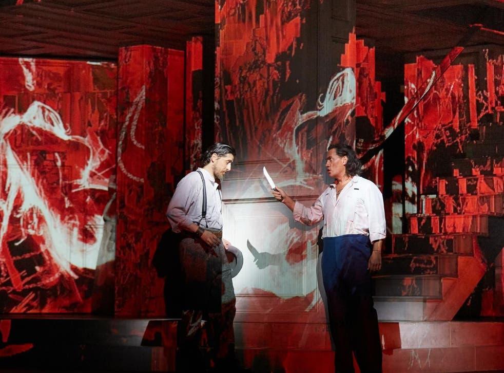 Erwin Schrott and Roberto Tagliavini in 'Don Giovanni' at the Royal Opera House