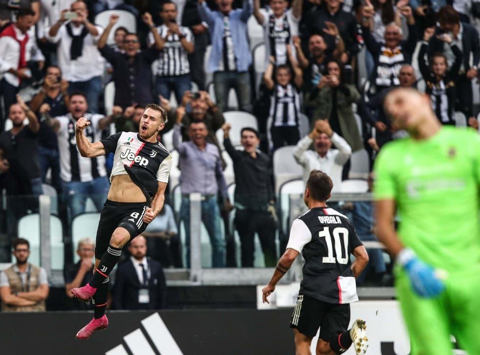 Aaron Ramsey celebrates scoring his first goal for Juventus