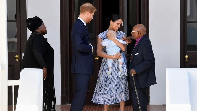 Meghan holds four-month-old Archie as they and Prince Harry make the acquaintance of Archbishop Desmond Tutu and his daughter, Thandeka at the Desmond and Leah Tutu Legacy Foundation in Cape Town, South Africa.