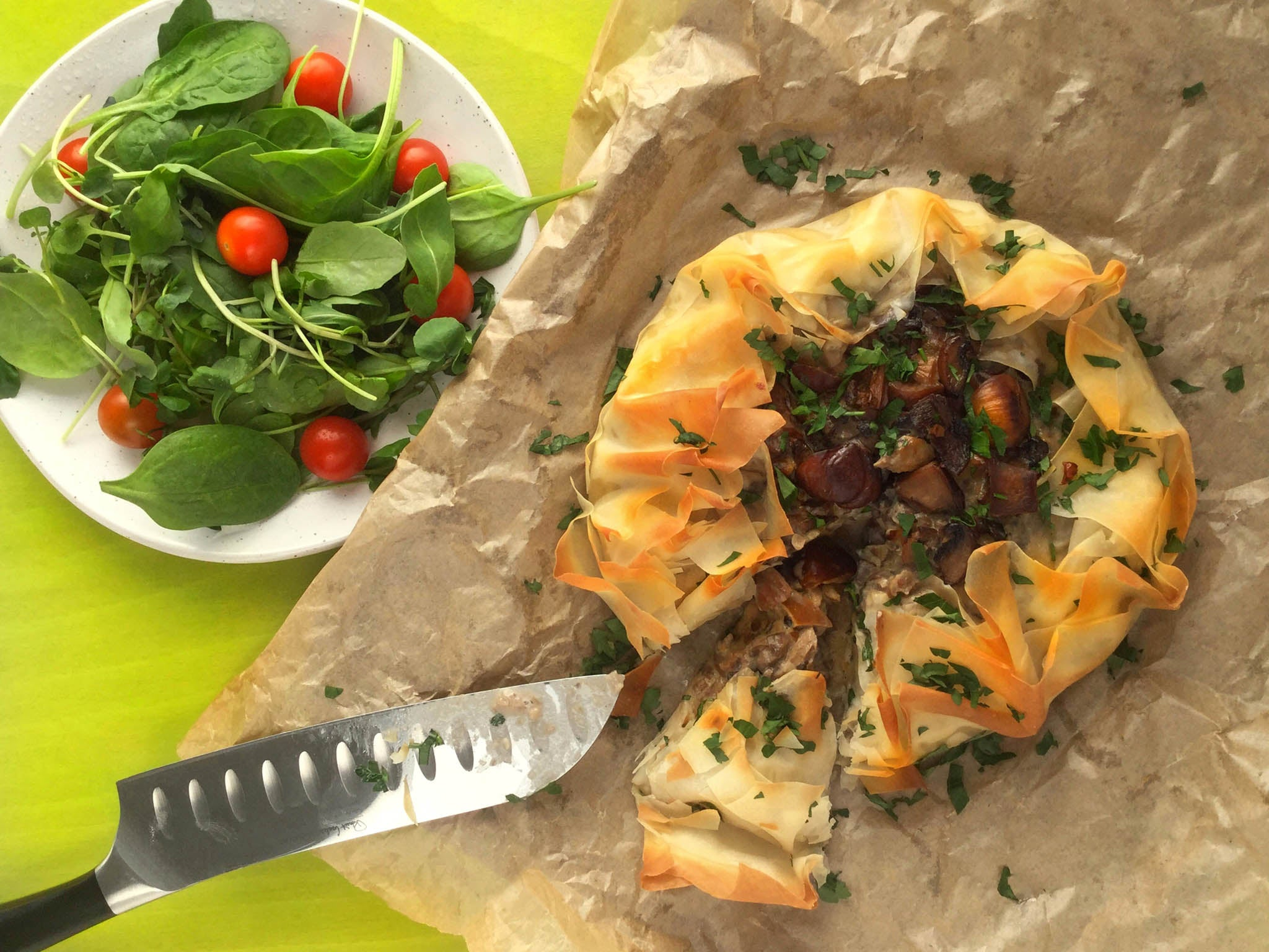 How to make mushroom and chestnut filo galette 1
