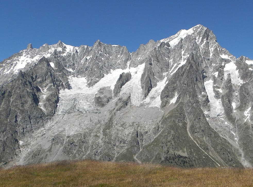 The Planpincieux glacier (seen on the left) on the southern slopes of the Grandes Jorasses in the Mont Blanc massif