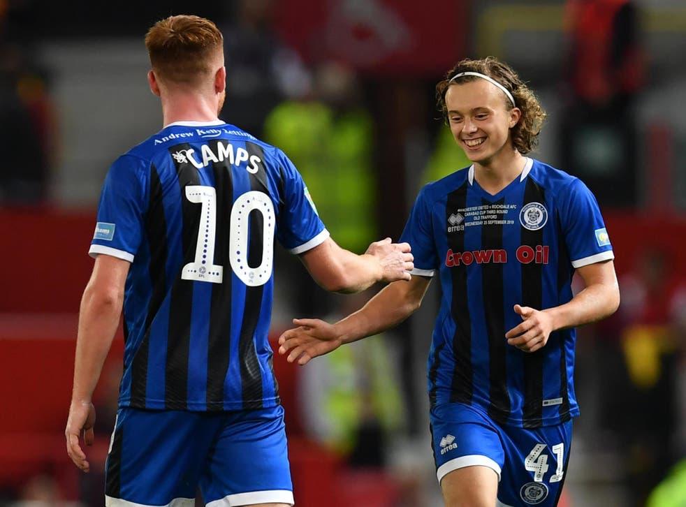 Rochdale goalscorer Luke Matheson celebrates his equaliser