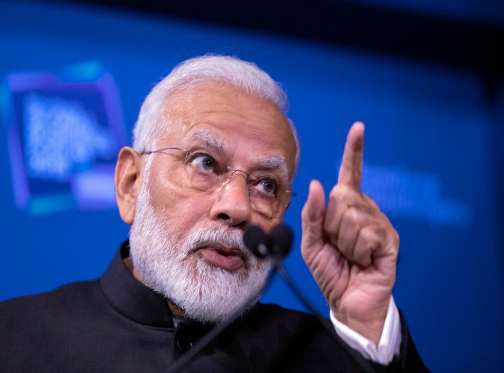 Indian Prime Minister Narendra Modi speaks at the Bloomberg Global Business Forum in New York. Earlier, he was named one of four 2019 Global Goalkeepers by the Gates Foundation