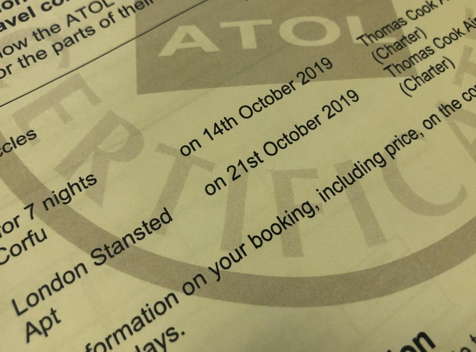 No go: an Atol certificate for a Thomas Cook holiday in October