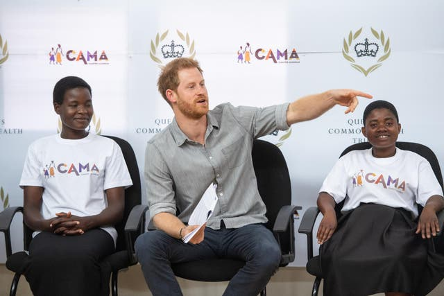 Prince Harry learns about the CAMA network and how it is supporting young women in Malawi