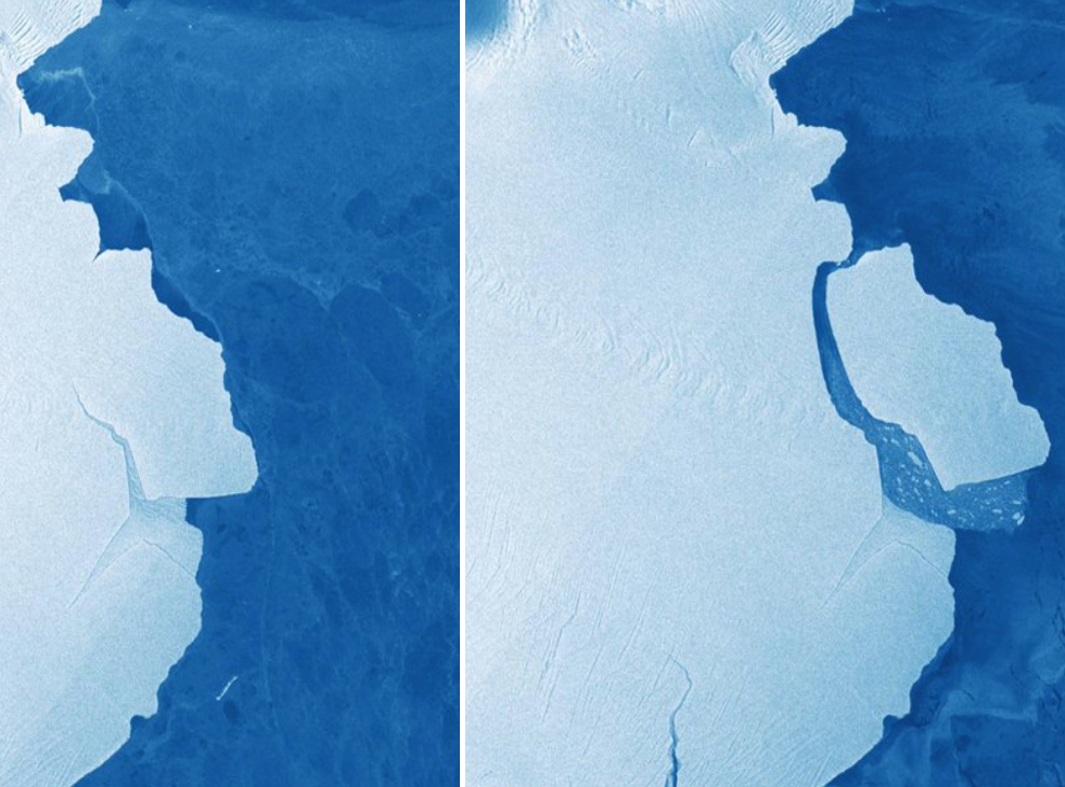 The iceberg is seen before and during the break – just five days apart