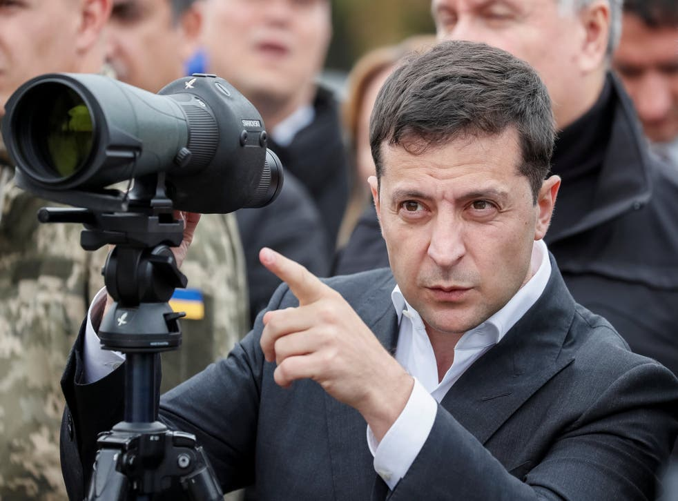 Zelensky attends a drill near the village of Stare in the Kiev region on Monday