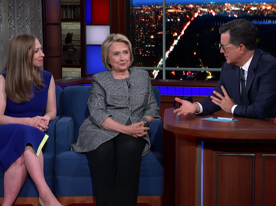 Stephen Colbert audience shouts 'lock him up!' as Late Show host asks Hillary Clinton about Trump impeachment