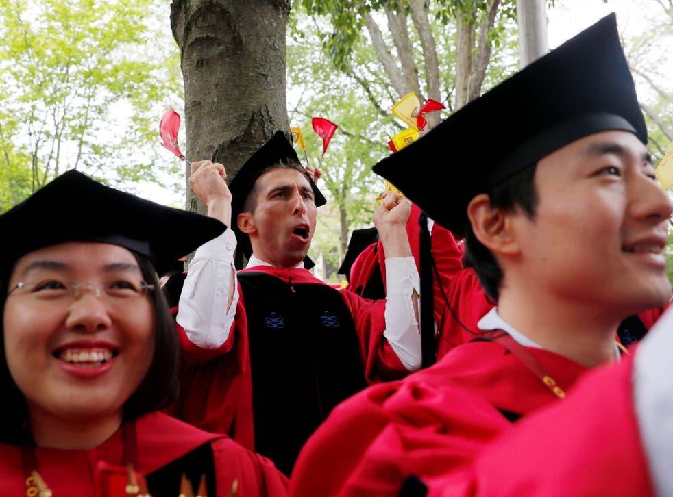 Harvard students graduate in Massachusetts
