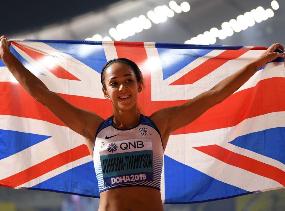 Katarina Johnson-Thompson celebrates her gold medal