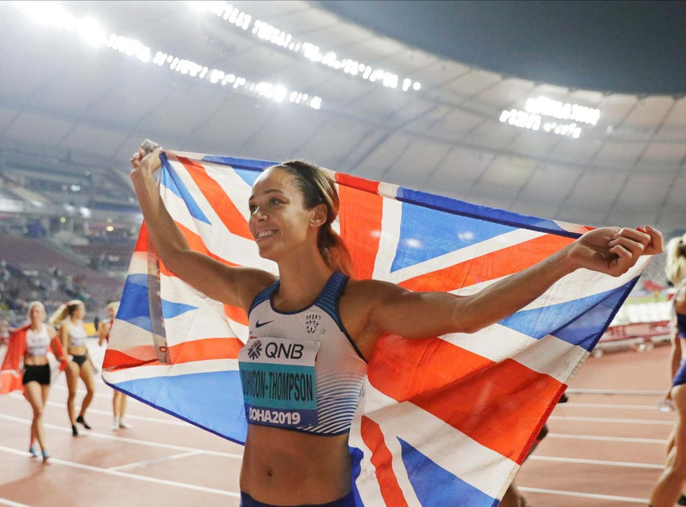Katarina Johnson-Thompson celebrates her World Athletics Championships gold