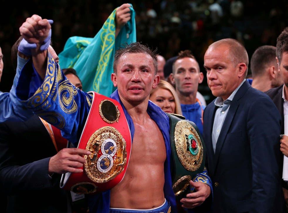 Gennady Golovkin celebrates winning the IBF middleweight title