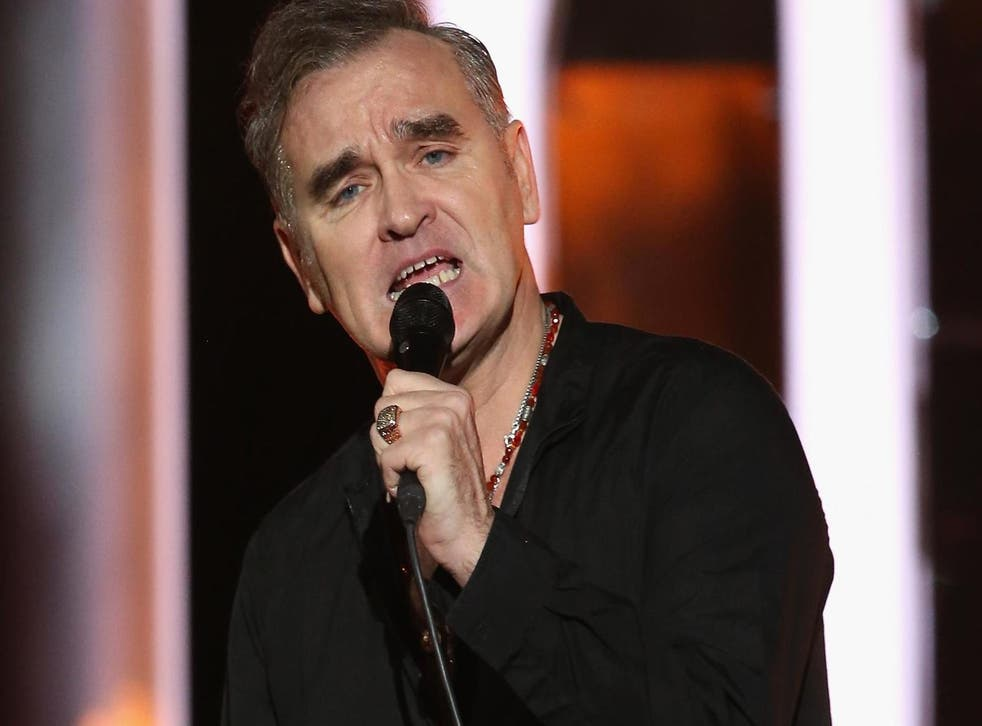 Morrissey performs during the 20th annual Nobel Peace Prize Concert press conference on 11 December at the Oslo Spektrum arena in Oslo, Norway.