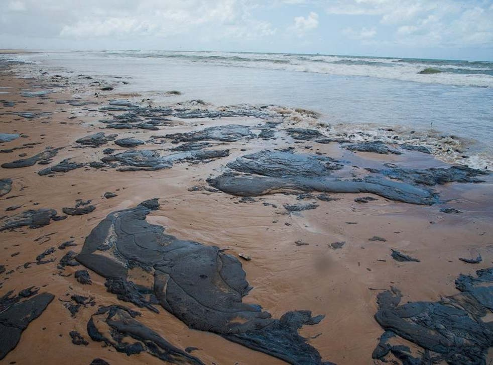 A beach in Brazil's Sergipe state (pictured) is one among over a hundred to have been hit by the mysterious oil spill