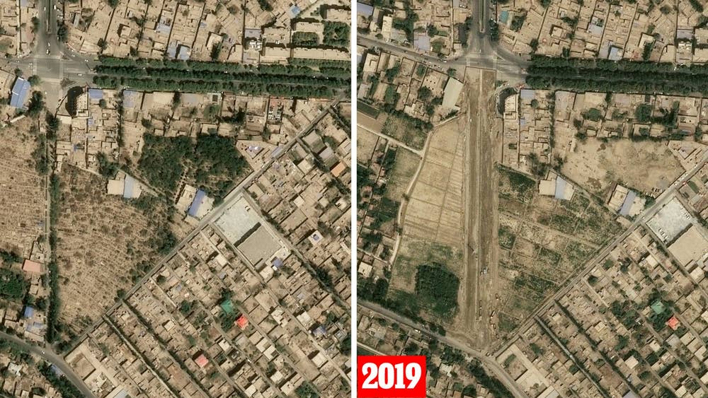 Teywizim cemetery in Hotan (before and after)