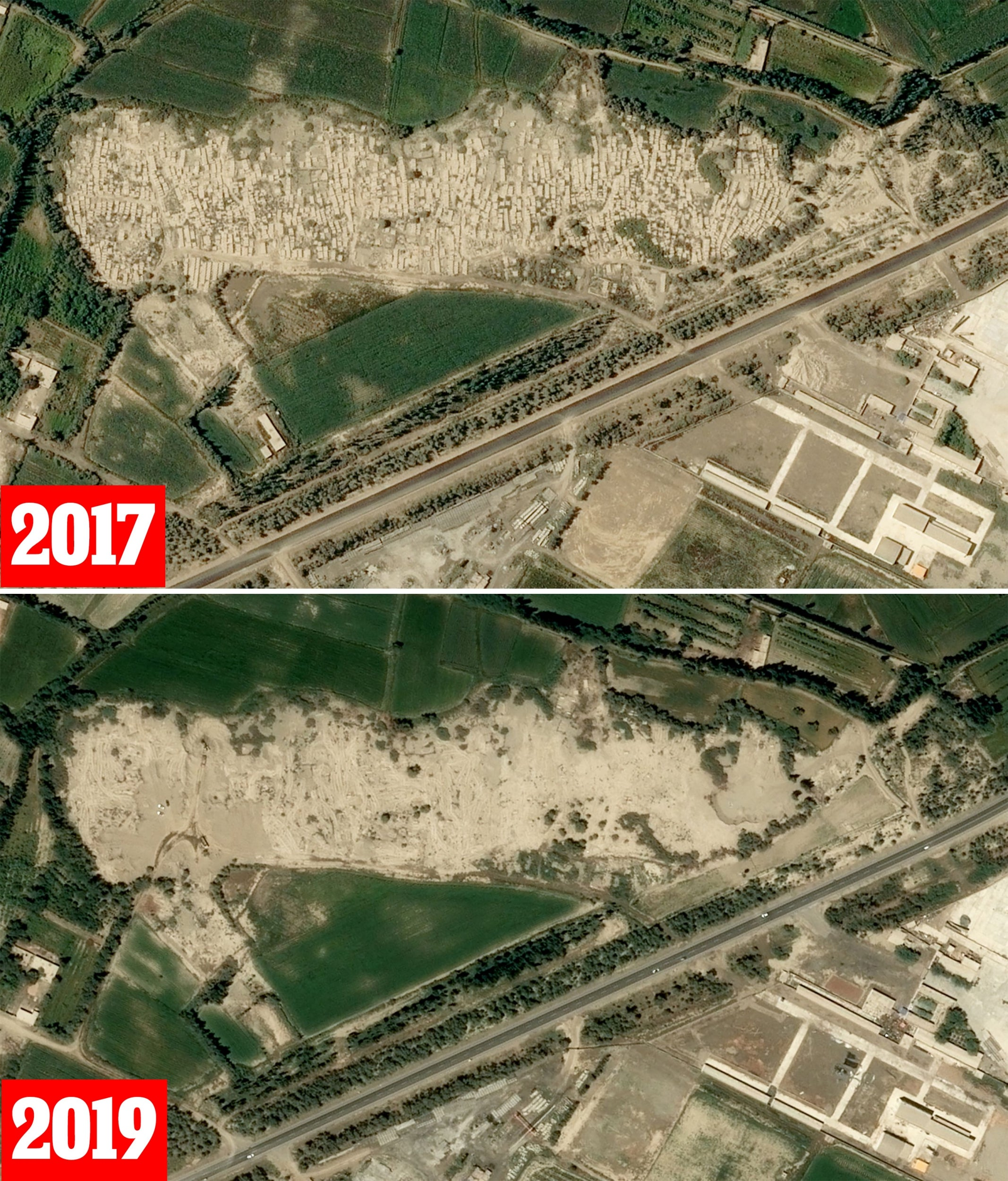 A cemetery in Xayar (before and after)