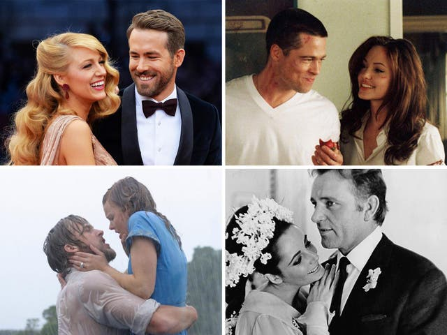 From top left clockwise: Blake Lively and Ryan Reynolds, Brad Pitt and Angelina Jolie, Ellizabeth Taylor and Richard Burton, and Ryan Gosling and Rachel McAdams