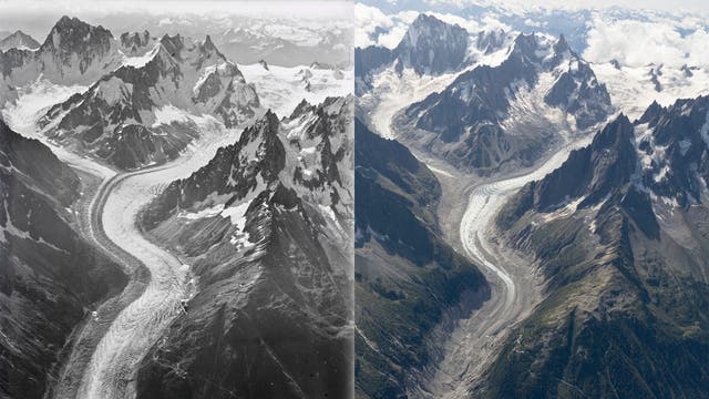 The images show the impact that climate change has had upon the mountain's glaciers