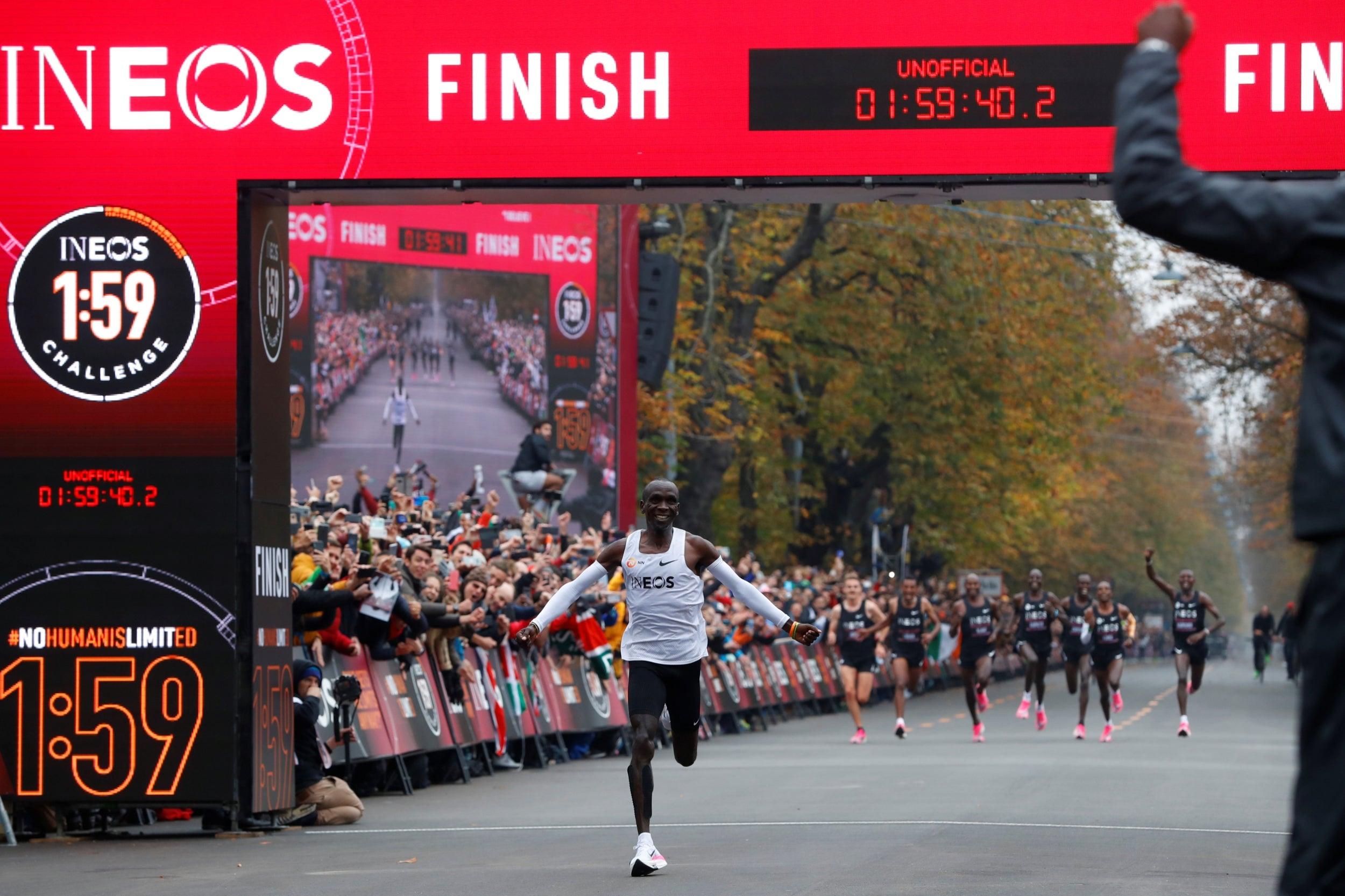 <b>Eliud Kipchoge breaks two-hour marathon barrier</b>