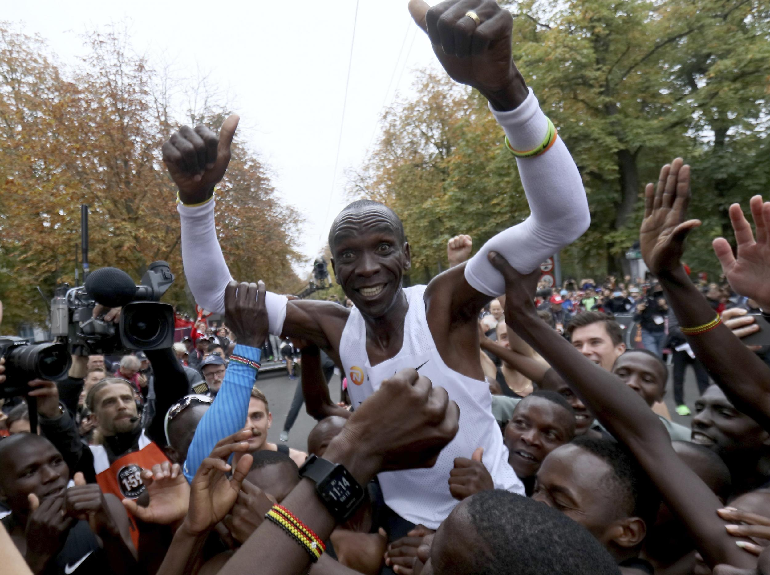Eliud Kipchoge breaks two-hour marathon barrier to make sporting history – in 50 glorious photographs