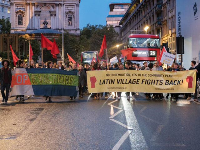 A march against the changes to the 'Latin Village' market
