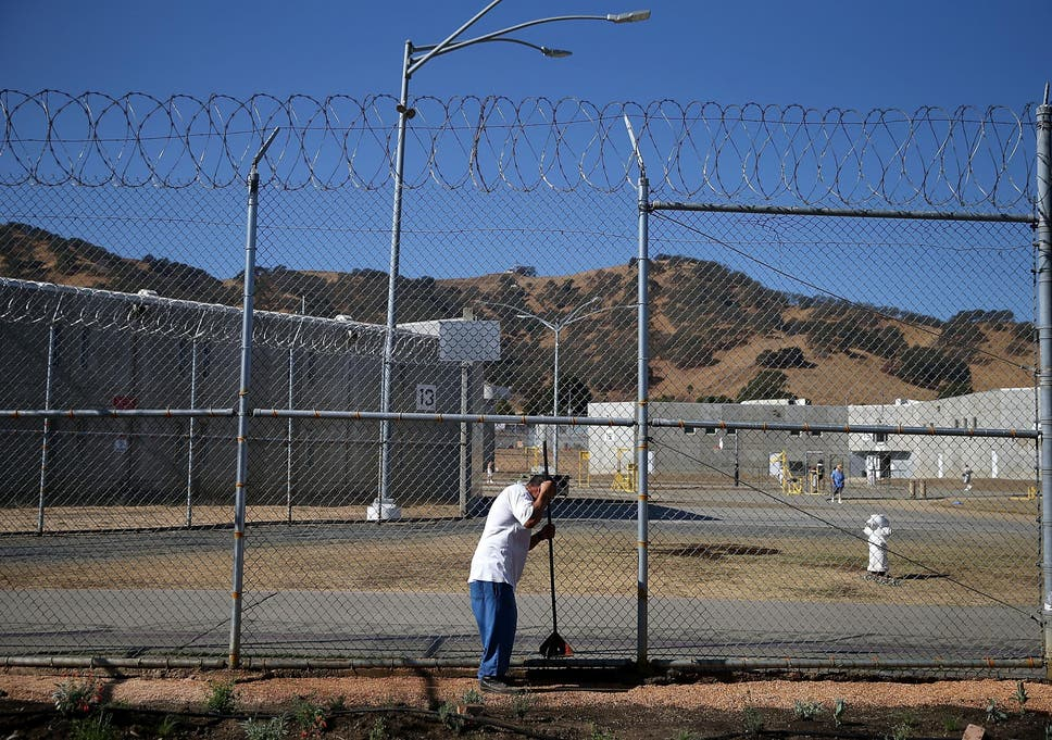 An inmate pictured outisde the California State Prison in Solano, Vacaville