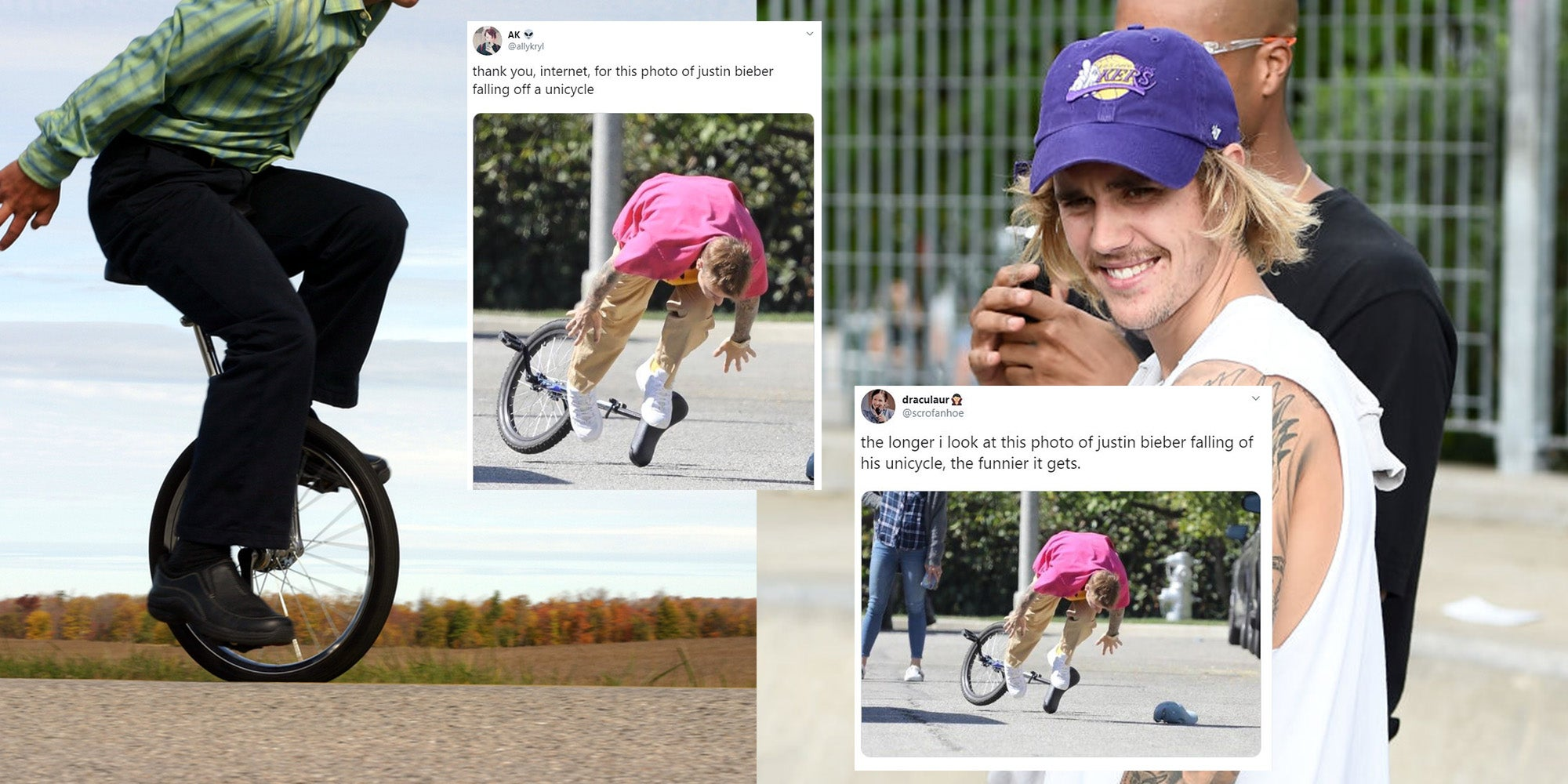 Justin Bieber fell off a unicycle and the pictures just won't stop giving