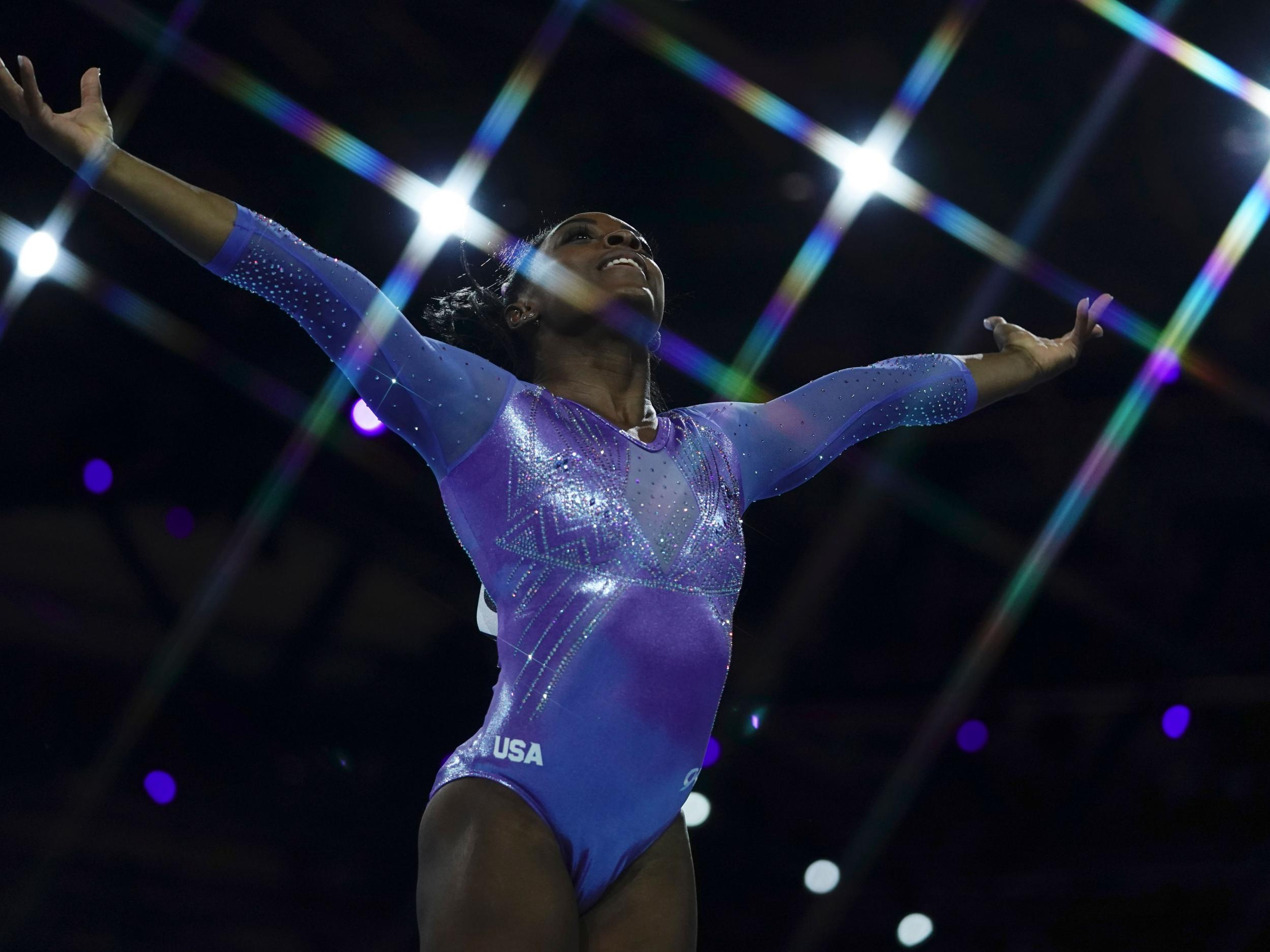 Simone Biles wins floor and beam events to win record 25th world championship medal