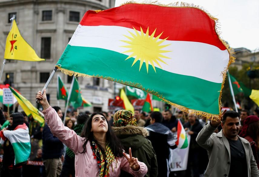 Hundreds of Kurdish protestors march through London demanding an end to Turkey's bombardment of Syria