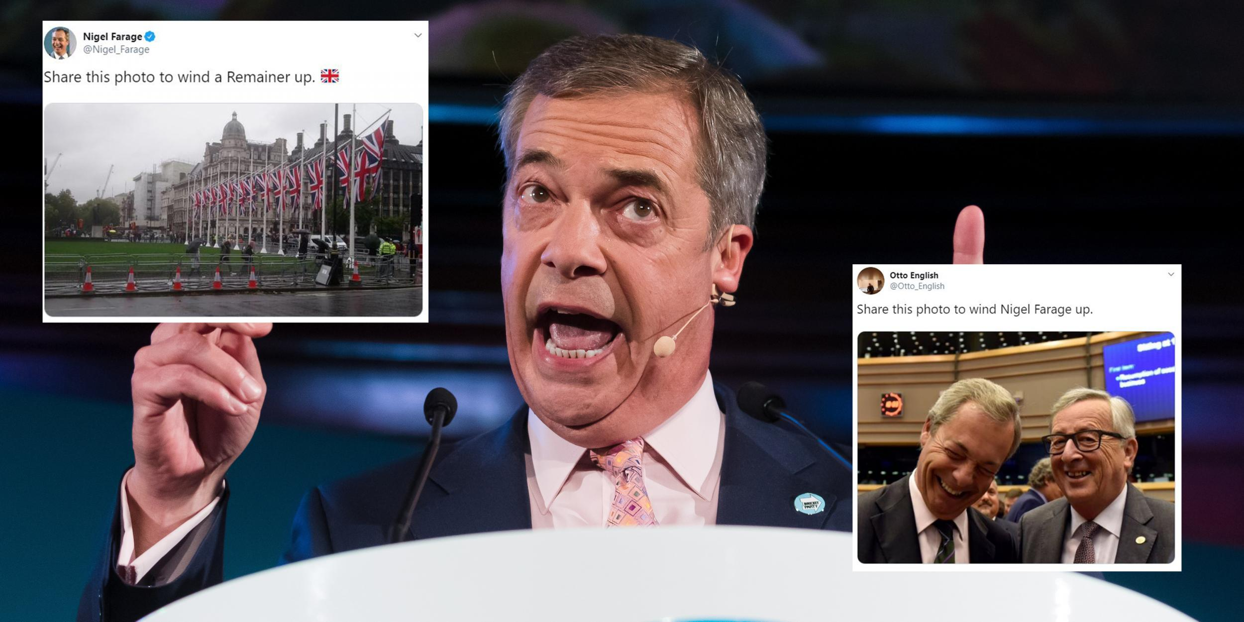 Nigel Farage shared a picture 'to wind up Remainers' and it backfired badly