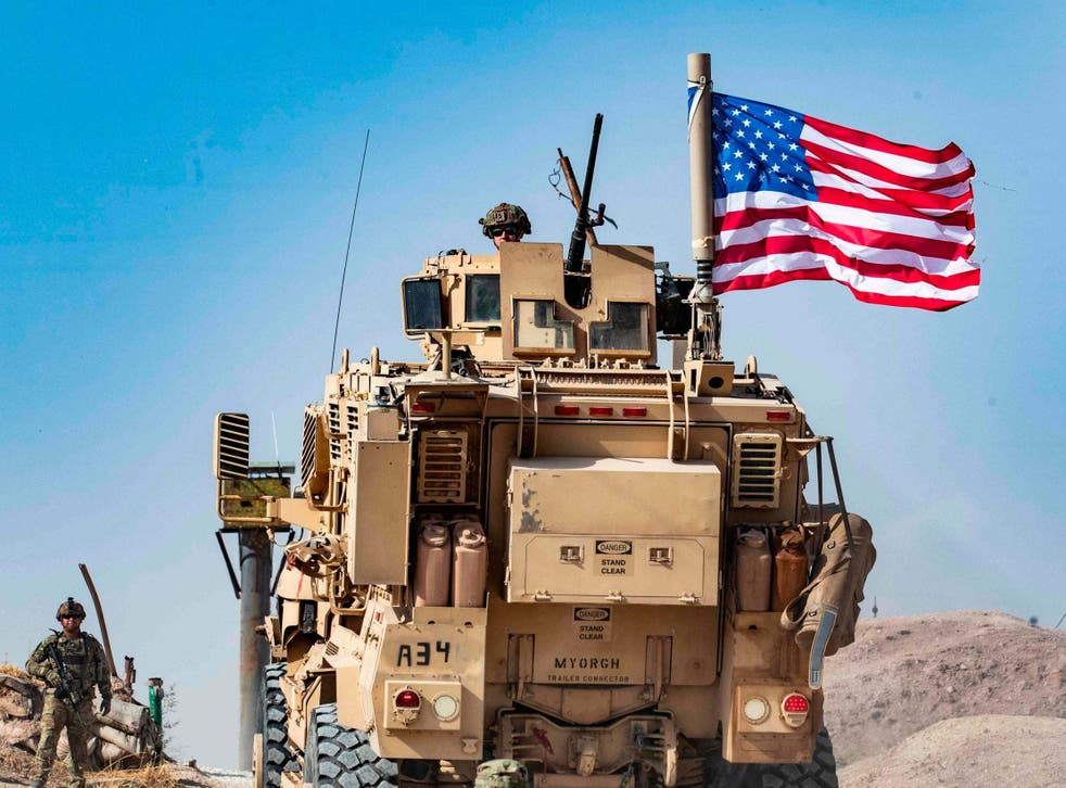 A US armoured vehicle in Syria's Hasakeh province close to the Turkish border
