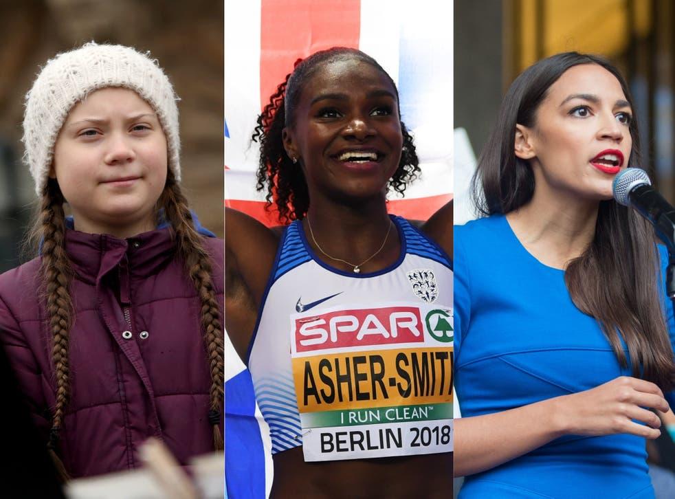 Greta Thunberg, Dina Asher-Smith and Alexandria Ocasio-Cortez