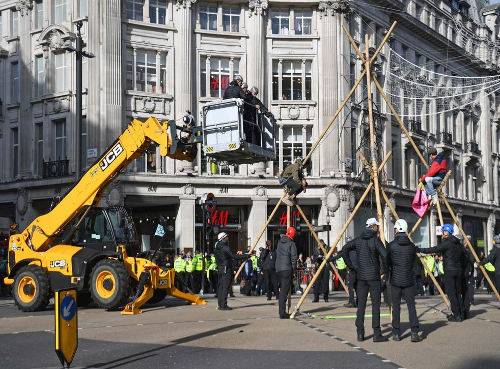 A JCB was used to remove the climate protesters