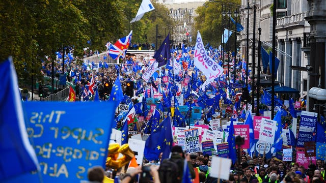 Crowds march through central London
