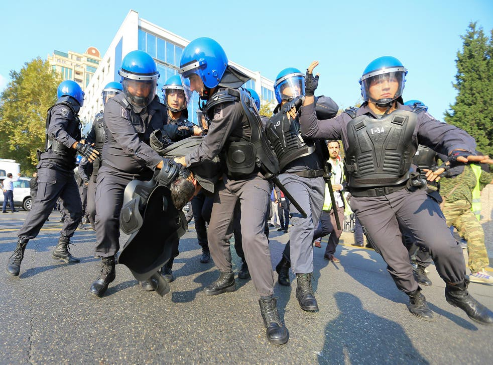 Police detained more than 80 protesters in central Baku