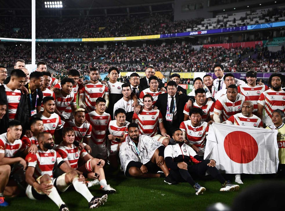 The Japanese team following their defeat by South Africa