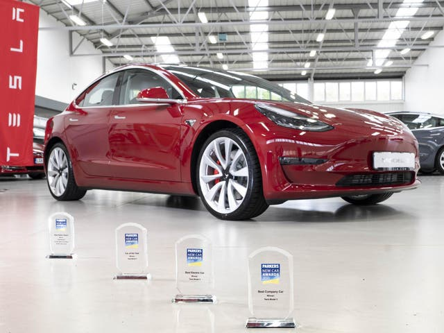 The Tesla Model 3 picked up four prizes at the Parkers awards ceremony