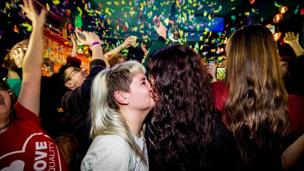 Revellers celebrate equal marriage at Belfast's Maverick Bar